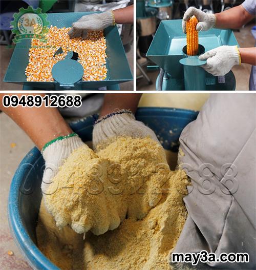 Ngô hạt, bắp ngô khô được nghiền thành cám bằng Máy chế biến thức ăn chăn nuôi gia súc, gia cầm 3A2,2Kw (phễu vuông)