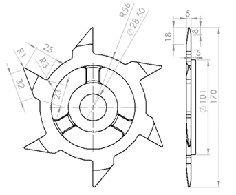 Phụ kiện máy cắt cá 3A2,2Kw: Dao móc