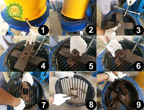 Các bước tháo lắp thùng máy băm rơm, xơ dừa, cỏ voi 3A để vệ sinh