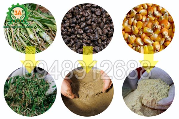 Nguyên liệu đầu vào và sản phẩm đầu ra của máy chế biến thức ăn chăn nuôi 3A2,2Kw phễu tròn