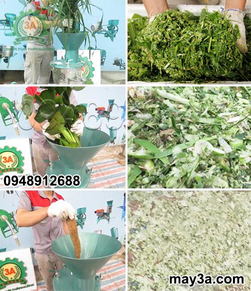 Nguyên liệu trước và sau khi được băm nhỏ bằng Máy chế biến thức ăn chăn nuôi 3A2,2Kw (dạng phễu tròn)