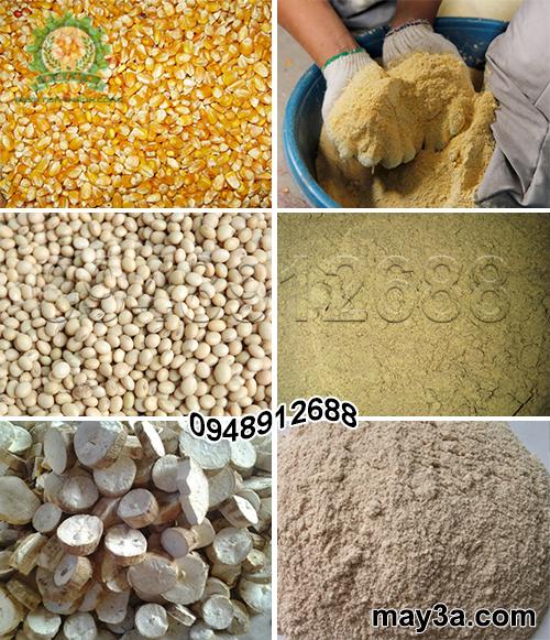 Ngô hạt, đậu tương, sắn khô được nghiền thành cám bằng Máy chế biến thức ăn chăn nuôi 3A2,2Kw (dạng phễu tròn)
