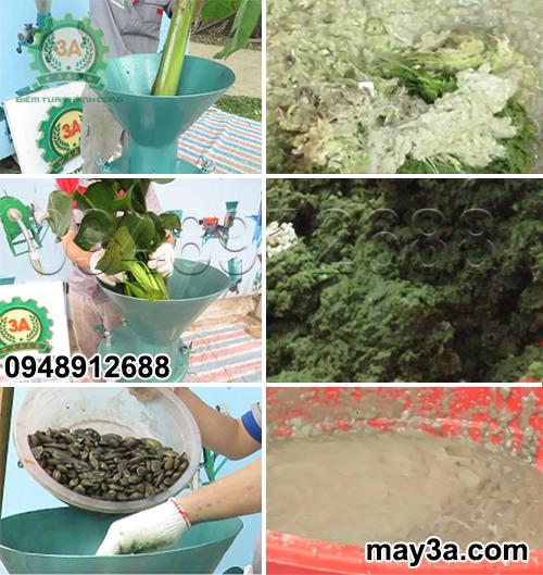 Sản phẩm trước và sau khi được nghiền nát nhuyễn bởi Máy chế biến thức ăn chăn nuôi 3A2,2Kw (dạng phễu tròn)