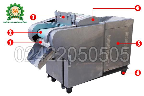 Cấu tạo của Máy cắt rau củ đa năng 3A2,2Kw có băng tải
