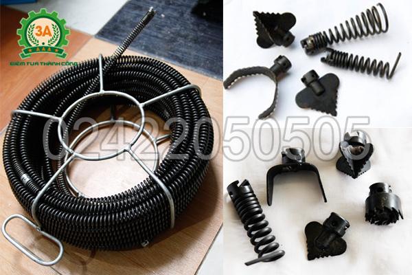 Cuộn dây lò xo và bộ đầu thông đi kèm theo máy thông cống A99