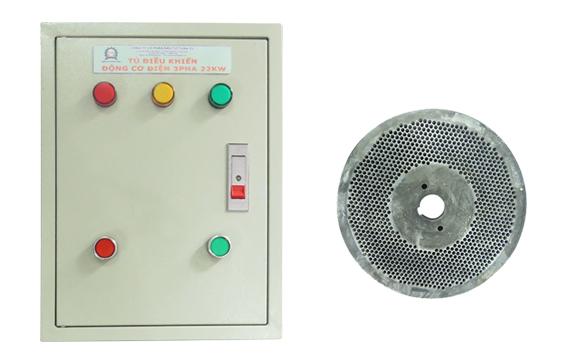 Tủ điện và mặt sàng máy ép cám viên trục đứng 3A22kw