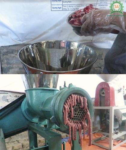 Xương lợn được nghiền nhỏ bằng Máy xay xương 3A11Kw