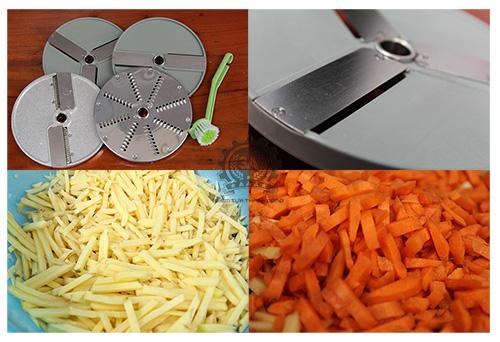 Khoai tây và cà rốt được cắt bằng máy cắt hạt lựu 3A