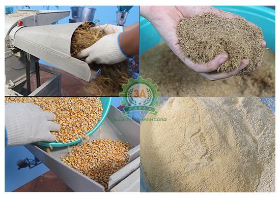 Rơm và ngô hạt được nghiền nhỏ bằng Máy nghiền rơm Q30