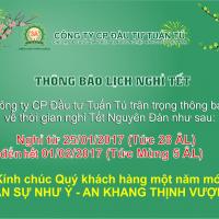 Thông báo lịch nghỉ Tết Nguyên Đán của Công ty CPĐT Tuấn Tú