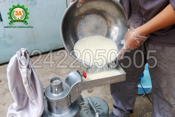 Đổ nguyên liệu vào khay chứa của Máy xay bột khô 3A LM2.2Kw