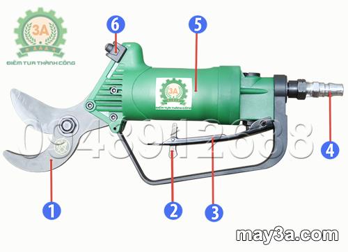 Cấu tạo Dụng cụ cắt cành cầm tay 3A (loại sử dụng khí nén)