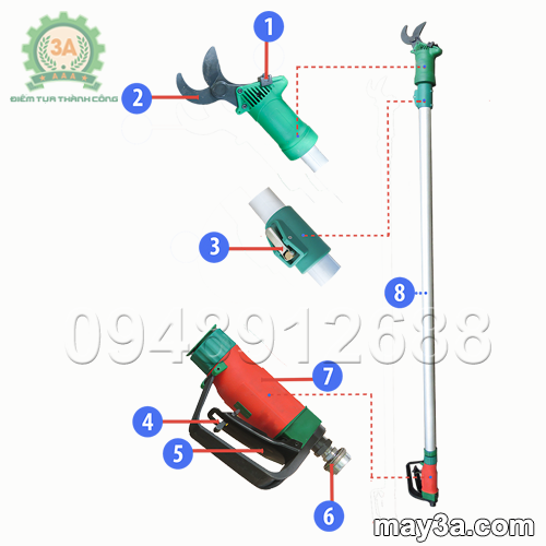 Cấu tạo Dụng cụ cắt cành trên cao 3A (loại sử dụng khí nén)