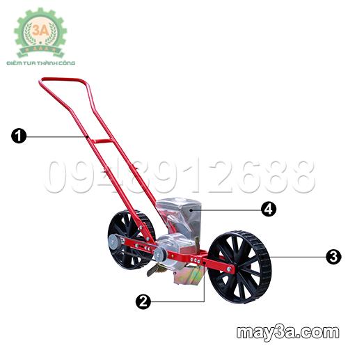Cấu tạo của Dụng cụ gieo hạt giống một hàng 3A (kiểu xe đẩy)
