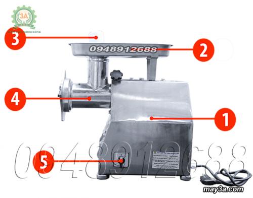 Cấu tạo Máy xay thịt inox 3A GT2,2KW