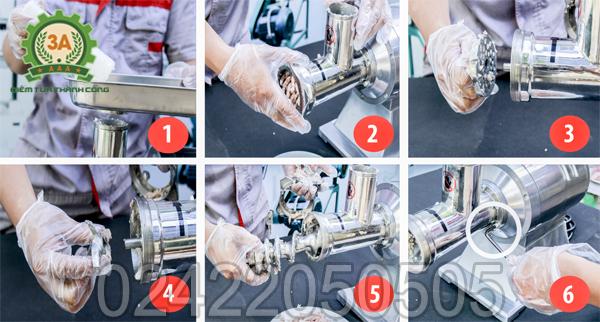 Các bước tháo Máy xay thịt inox 3A1,3Kw để vệ sinh