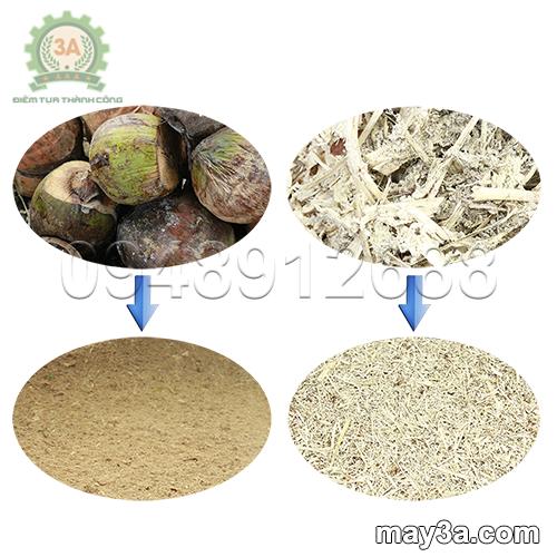 Nguyên liệu trước và sau khi băm nghiền bằng Máy băm nghiền xơ dừa, rơm, bã mía kiểu ống tròn 3A16Hp