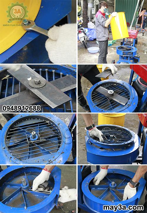 Tháo các bộ phận của Máy băm nghiền xơ dừa, rơm, bã mía kiểu ống tròn 3A16Hp