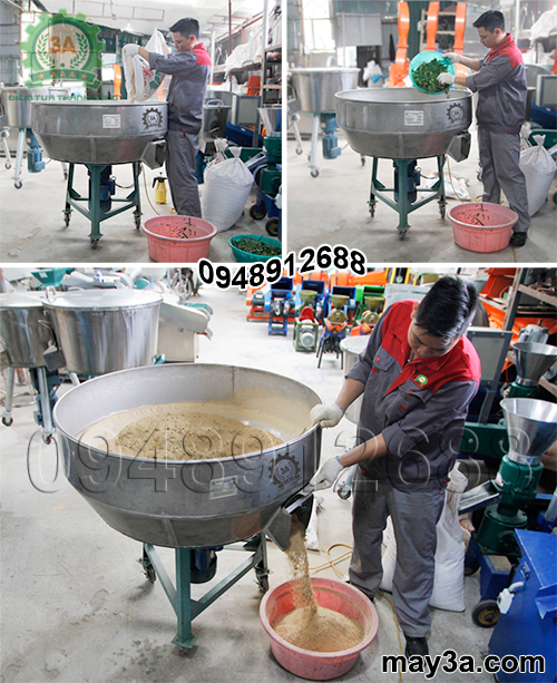 Chế biến thức ăn cho gà tây: Máy trộn thức ăn chăn nuôi 1pha 3A3Kw
