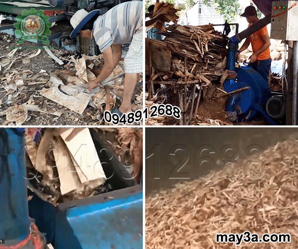 Xử lý ván bóc thành dăm gỗ tại cơ sở chế biến gỗ