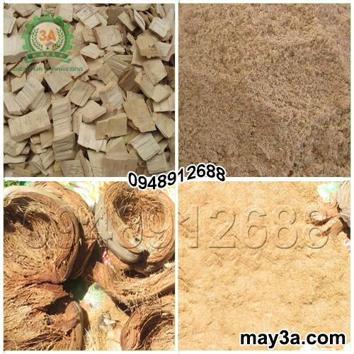 Gỗ tạp, vỏ dừa được băm nghiền bằng Máy băm ván bóc, vỏ dừa, gỗ tạp 3A2Kw