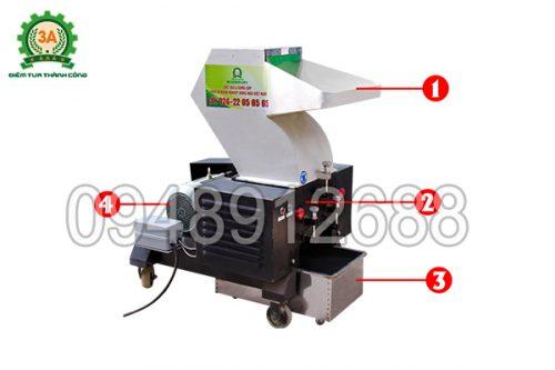 Hình ảnh cấu tạo của máy băm nhựa phế liệu 3A5,5Kw