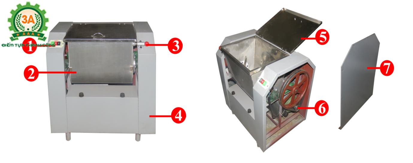Cấu tạo của Máy trộn ướt bột thuốc Đông y 3A