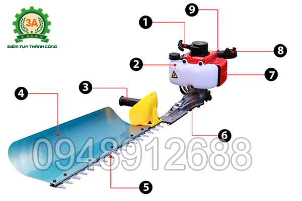 Hình ảnh cấu tạo của Máy cắt hàng rào 3A1Hp