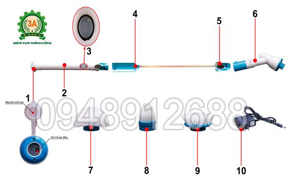 Các chi tiết của chổi cọ rửa vệ sinh đa năng 3A (sử dụng pin sạc)