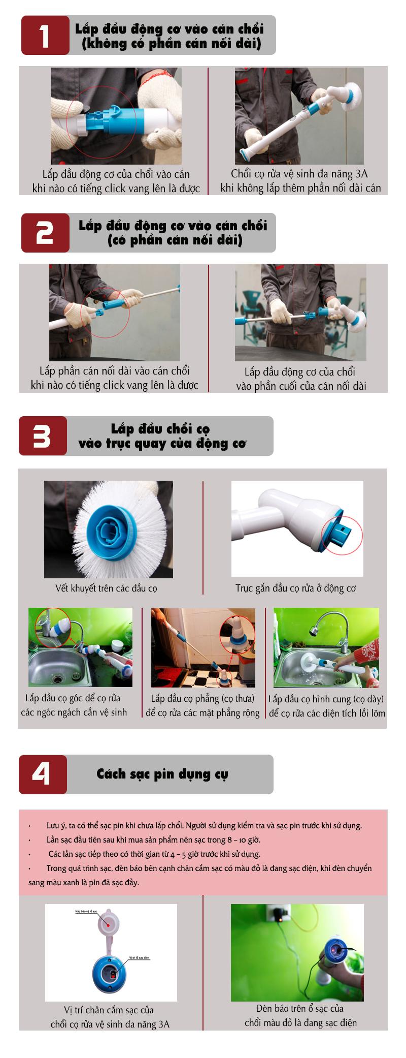 Hướng dẫn chi tiết cách sử dụng chổi cọ rửa vệ sinh đa năng 3A