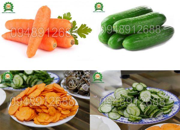 Nguyên liệu đầu vào và sản phẩm đầu ra khi sử dụng dụng cụ thái lát rau củ quả inox 3A