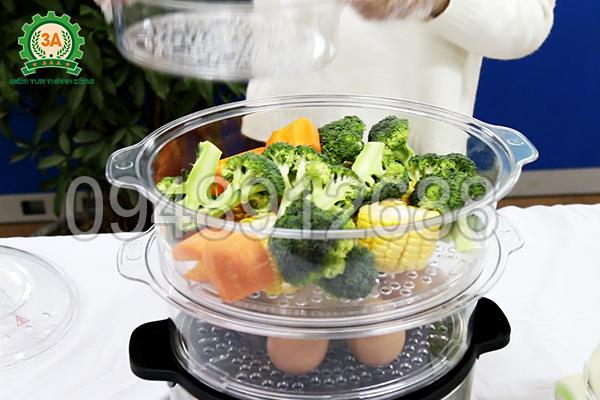 Sử dụng nồi hấp mini 3A giúp tiết kiệm thời gian nấu nướng