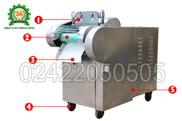 Cấu tạo máy thái rau, củ, quả 3A1,5Kw (loại băng tải)