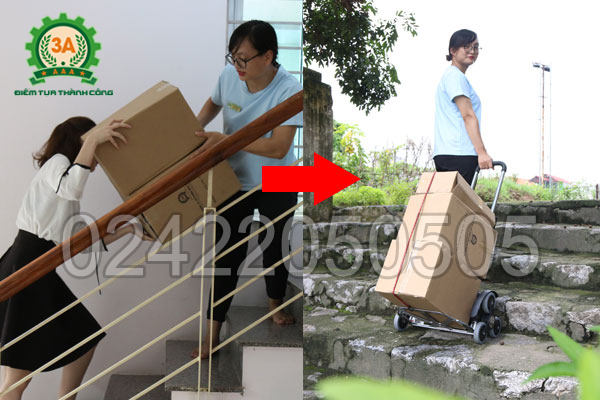 Xe đẩy hàng gấp gọn leo cầu thang 3AM3 có thể vận chuyển hàng lên xuống cầu thang dễ dàng