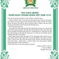 Thư chúc mừng ngày doanh nhân 13/10/2018 - Chủ tịch HĐQT Nguyễn Hải Châu