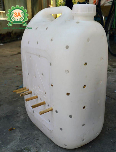 Nuôi lươn trong can nhựa: Các que tre xuyên qua lỗ để lươn quấn vào