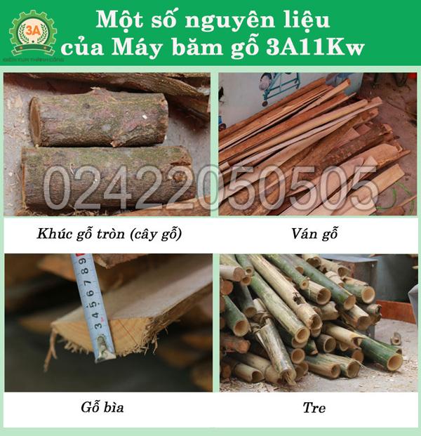Nguyên liệu đầu vào của máy băm gỗ 3A11Kw