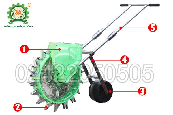 Cấu tạo của dụng cụ gieo hạt đẩy tay 3A