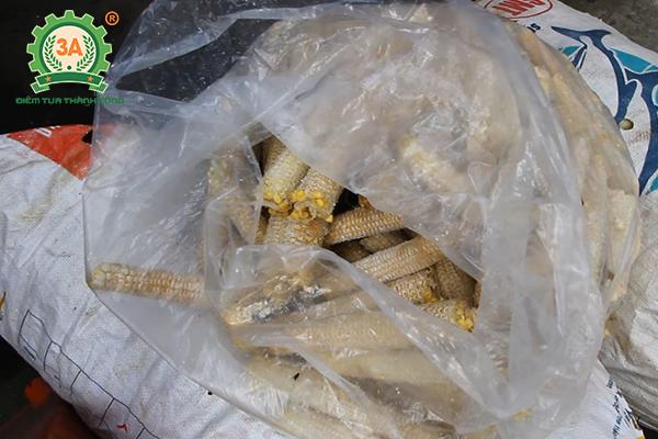 Một lượng lớn cùi và vỏ bắp thải ra trong quá trình sản xuất của công ty