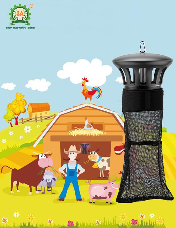 Đèn bắt côn trùng công nghiệp 3A thích hợp sử dụng trong các trang trại chăn nuôi