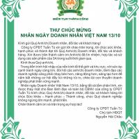 Thư chúc mừng nhân ngày doanh nhân Việt Nam 13/10/2019