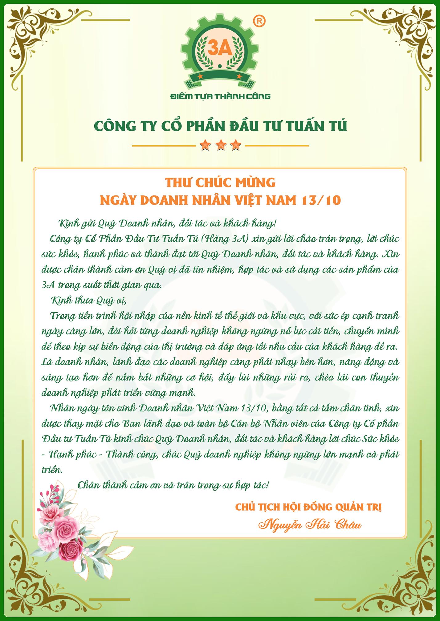 Thư chúc mừng ngày doanh nhân Việt Nam 13/10/2020
