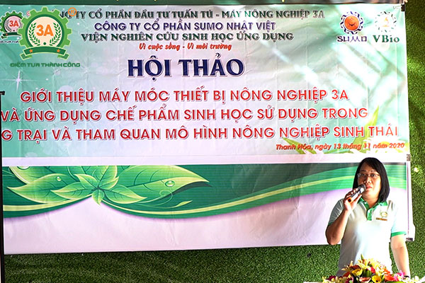 Đại diện Hãng 3A phát biểu tại hội thảo máy nông nghiệp 3A với bà con nông dân Thanh Hóa