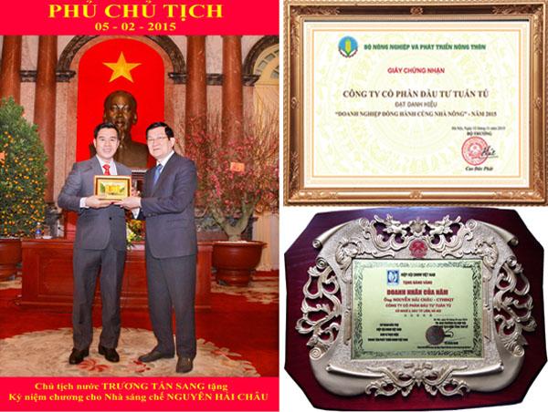 Nhà sáng chế máy nông nghiệp 3A - Nguyễn Hải Châu nhận kỷ niệm chương của chủ tịch nước Trương Tấn Sang